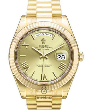 Replica Rolex Day-Date II  41mm Fluted Bezel Gold Gold Dial Roman Markers - TimeLux - Replica Watches Greece