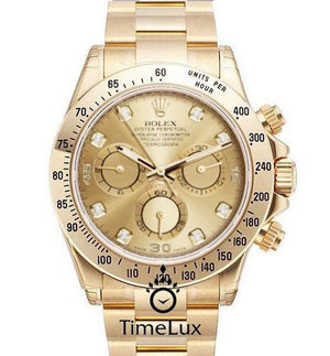 Replica Rolex Cosmograph Daytona Gold Gold Dial Diamond Markers - TimeLux - Replica Watches Greece