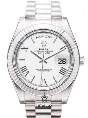 Replica Rolex Day-Date II 41mm Silver White Dial Dial Roman Markers - TimeLux - Replica Watches Greece