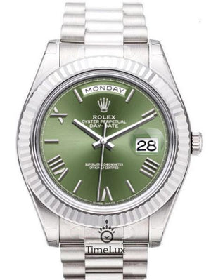 Replica Rolex Day-Date II 41mm Silver Green Dial Dial Roman Markers - TimeLux - Replica Watches Greece