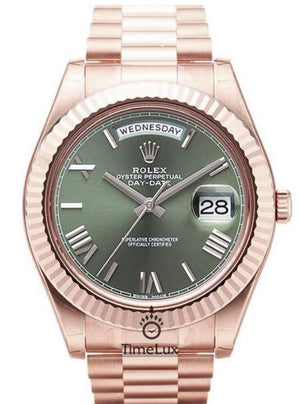 Replica Rolex Day-Date II 41mm Rose Gold Green Dial Roman Markers - TimeLux - Replica Watches Greece