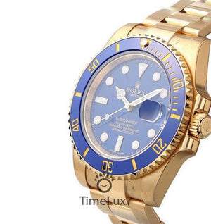 Replica Rolex Submariner Gold Blue Dial Ceramic Bezel - TimeLux - Replica Watches Greece