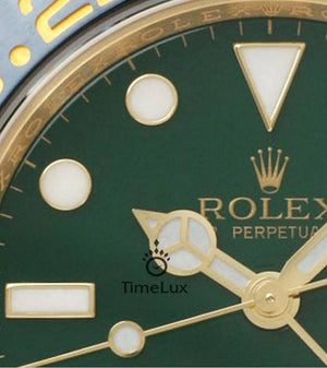 Replica Rolex GMT-Master II SS Gold Green Ceramic Bezel - TimeLux - Replica Watches Greece