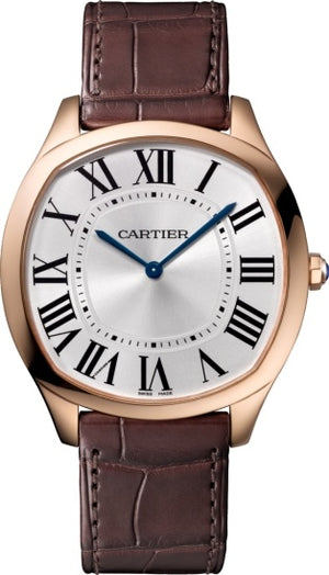 Replica Cartier, Drive de Cartier Extra-Flat Watch Pink Gold Leather Strap - TimeLux - Replica Watches Greece