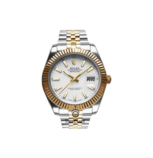 Rolex Datejust 41 mm 2-Tone Gold Oyster White Dial Sticks Markers, Ρολόι χειρός/Wristwatch, Rolex, TimeLux - Replica Watches Greece