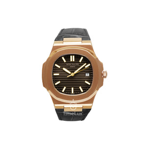 Replica Patek Philippe Nautilus Rose Gold Leather Strap - TimeLux - Replica Watches Greece
