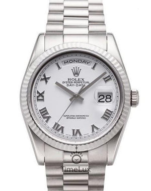 Replica Rolex Day-Date II 36mm Fluted Bezel Silver White Dial Roman Markers - TimeLux - Replica Watches Greece