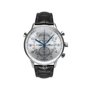 Replica IWC Portugieser Chronograph Rattrapante Silver Black Strap - TimeLux - Replica Watches Greece