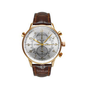 Replica IWC Portugieser Chronograph Rattrapante Gold Brown Strap - TimeLux - Replica Watches Greece
