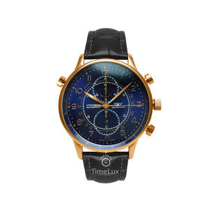 Replica IWC Portugieser Chronograph Rattrapante Gold Black Strap Black Dial - TimeLux - Replica Watches Greece