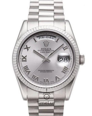 Replica Rolex Day-Date II 36mm Fluted Bezel Silver Dial Roman Markers - TimeLux - Replica Watches Greece