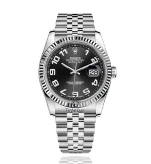 Replica Rolex Datejust 36mm Fluted Bezel Black Dial Numerus Markers - TimeLux - Replica Watches Greece