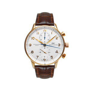 Replica IWC Portugieser Chronograph Gold Brown Strap - TimeLux - Replica Watches Greece