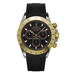 Replica Rolex Cosmograph Daytona 2-Tone Black Dial Strap Rubber B - TimeLux - Replica Watches Greece