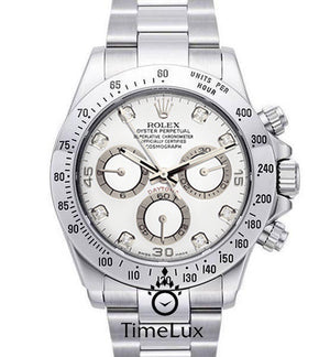 Replica Rolex Cosmograph Daytona White Dial SS Diamond Markers - TimeLux - Replica Watches Greece