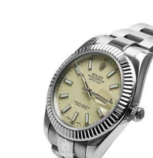 Replica Rolex Datejust 41 mm Silver SS White Pearl Dial Stick Markers - TimeLux - Replica Watches Greece