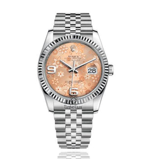 Replica Rolex Datejust 36mm Fluted Bezel Floral Dial Numerus Markers - TimeLux - Replica Watches Greece