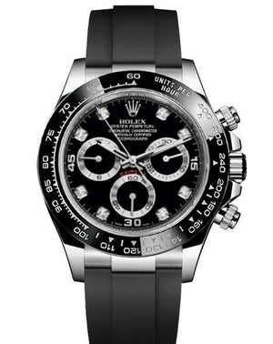 Replica Rolex Daytona Cosmograph Black Dial Black Ceramic Bezel Diamond Markers Baselworld 2017 - TimeLux - Replica Watches Greece