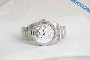Replica Rolex Day-Date II 36mm Fluted Bezel White Carousel Dial - TimeLux - Replica Watches Greece