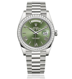 Replica Rolex Day-Date II 40mm Diamond Bezel Green Dial Roman Markers - TimeLux - Replica Watches Greece