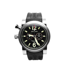 Replica Graham Chronofighter Vintage GMT SS 2-Black Black Dial - TimeLux - Replica Watches Greece
