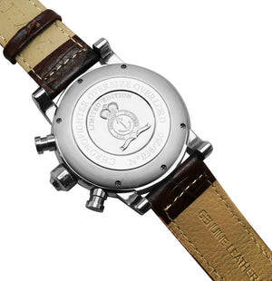 Replica Graham Chronofighter Vintage GMT Silver Brown Leather - TimeLux - Replica Watches Greece