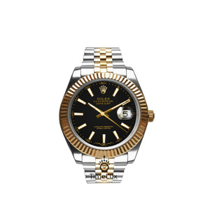 Replica Rolex Datejust 41 mm 2-Tone Gold Oyster Black Dial Sticks Markers - TimeLux - Replica Watches Greece