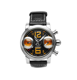 Replica Graham Chronofighter Vintage GMT Orange Yellow Black Strap - TimeLux - Replica Watches Greece
