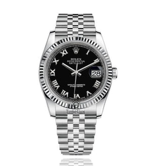 Replica Rolex Datejust 36mm Fluted Bezel Black Dial Roman Markers - TimeLux - Replica Watches Greece