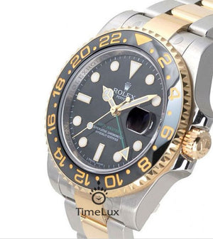Replica Rolex GMT-Master II SS 2-Tone Black Ceramic Bezel - TimeLux - Replica Watches Greece