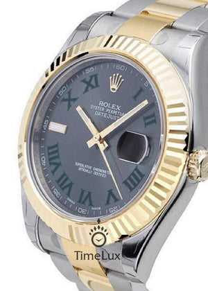 Rolex Datejust 41 mm 2-Tone Oyster Fluted Gray Roman, Ρολόι χειρός/Wristwatch, Rolex, TimeLux - Replica Watches Greece