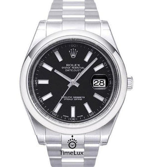 Replica Rolex Datejust SS 41mm Black Dial Stick Markers - TimeLux - Replica Watches Greece