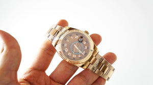 Replica Rolex Sky-Dweller Pink Gold Numerous Choco Dial - TimeLux - Replica Watches Greece