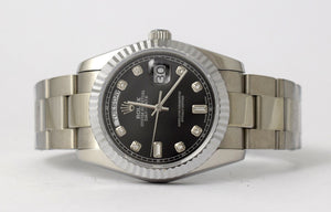 Replica Rolex Day-Date 36mm Black Dial Diamond Markers Fluted Bezel White Gold - TimeLux - Replica Watches Greece