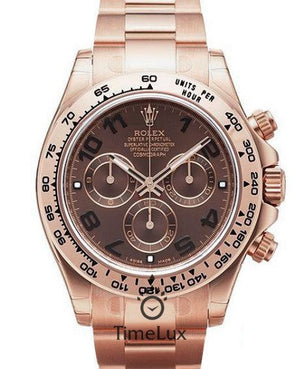 Replica Rolex Cosmograph Daytona Chocolate Dial Everose Full Gold - TimeLux - Replica Watches Greece