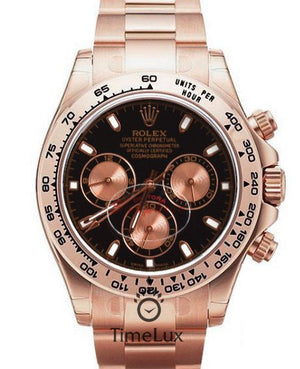 Replica Rolex Cosmograph Daytona Black Dial Everose Full Gold - TimeLux - Replica Watches Greece