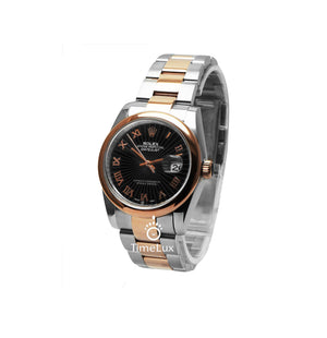 Replica Rolex Datejust 36mm 2-Tone Bronze Black Dial Roman Markers - TimeLux - Replica Watches Greece