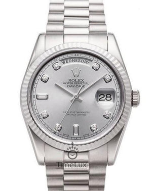 Replica Rolex Day-Date II 36mm Fluted Bezel Silver Dial Diamond Markers - TimeLux - Replica Watches Greece