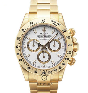 Replica Rolex Cosmograph Daytona Gold White Dial Stick Markers - TimeLux - Replica Watches Greece