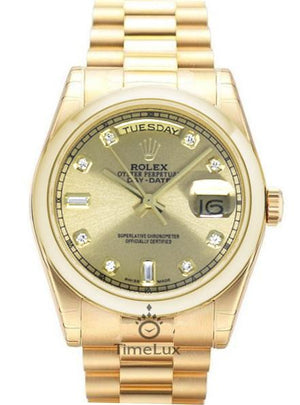 Replica Day-Date II 38mm Oyster Bezel Gold Dial Diamond Markers - TimeLux - Replica Watches Greece