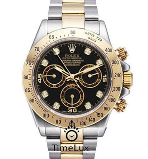 Replica Rolex Cosmograph Daytona 2-tone Black Dial Diamond Markers - TimeLux - Replica Watches Greece