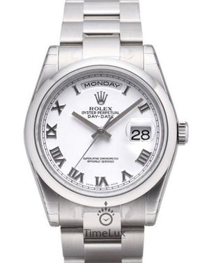 Replica Rolex Day-Date II 36mm Oyster Bezel White Dial Roman Markers - TimeLux - Replica Watches Greece