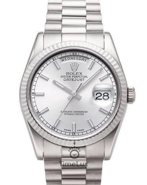 Replica Rolex Day-Date II 41mm Fluted Bezel Silver Dial Stick Markers - TimeLux - Replica Watches Greece