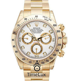 Replica Rolex Cosmograph Daytona Gold White Dial Diamond Markers - TimeLux - Replica Watches Greece