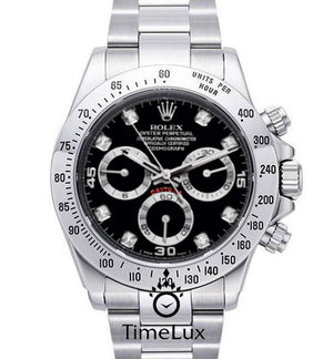 Replica Rolex Cosmograph Daytona Black Dial SS Diamond Markers - TimeLux - Replica Watches Greece