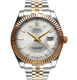 Replica Datejust 38mm 2-Tone Bronze White Dial Stick Markers - TimeLux - Replica Watches Greece