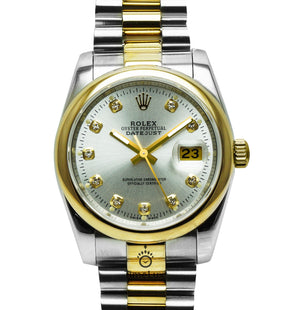 Replica Rolex Datejust 2-Tone 36mm White Dial Diamonds Markers - TimeLux - Replica Watches Greece