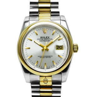 Replica Rolex Datejust 2-Tone Gold 36mm Oyster Bezel Pearl Dial Stick Markers - TimeLux - Replica Watches Greece