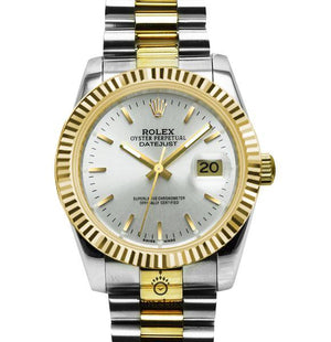 Replica Rolex Datejust 2-Tone Gold 36mm Fluted Bezel Pearl Dial Stick Markers - TimeLux - Replica Watches Greece