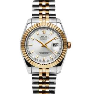 Replica Datejust 36mm 2-Tone Gold White Dial Stick Markers - TimeLux - Replica Watches Greece
